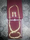 Zlaten lanec mengjuski i ogrlica komplet